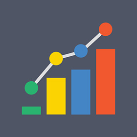 pay per click management company icon of a bar chart.