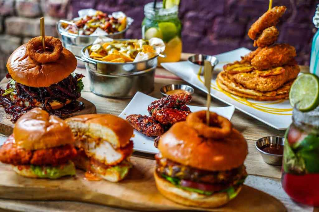 restaurant food photography in london photo of tasty burgers and sides